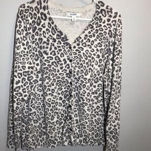 old navy leopard print grey sweater women size xxl